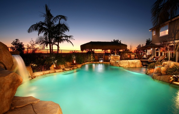 Wallpaper House Stones Palm Trees Waterfall Pool