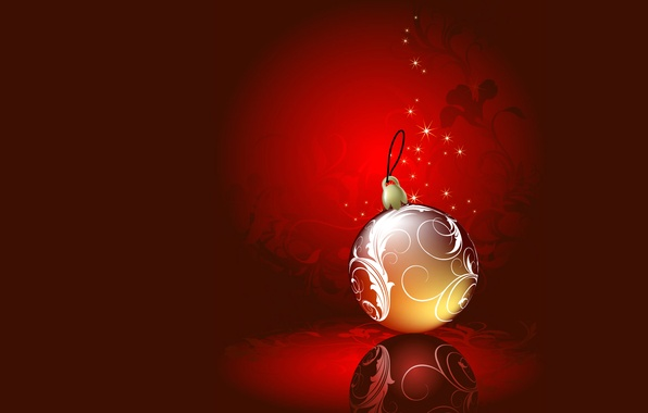 Photo wallpaper New Year, vector, decoration, postcard, winter, Christmas, ball