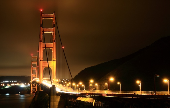 Picture road, sea, water, light, night, lights, city, the ocean, road, home, America, bridges, USA, States