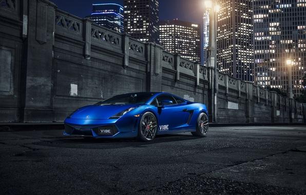 Picture Lamborghini, Gallardo, Blue, Front, Vorsteiner, Supercar, Wheels, 105, V-FF