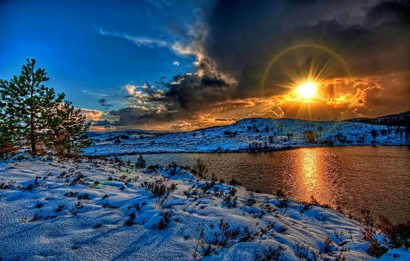 Picture winter, the sky, the sun, clouds, snow, landscape, sunset, nature, river, white, white, river, sky, ...