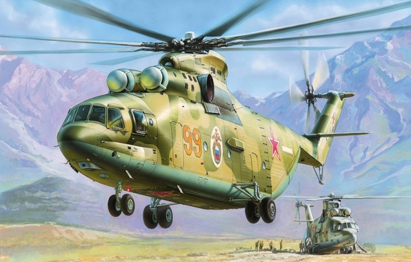 Picture figure, helicopter, Soviet, Zhirnov, Mil, multipurpose transport, MI-26, The Russian air force