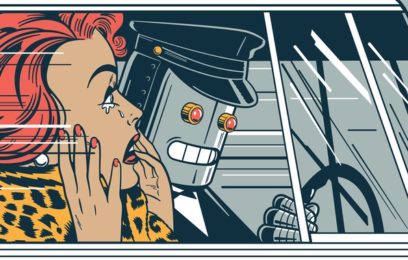 Picture car, face, woman, hair, robot, tears, window, the wheel, hairstyle, glass, car, robot, panic, panic, …