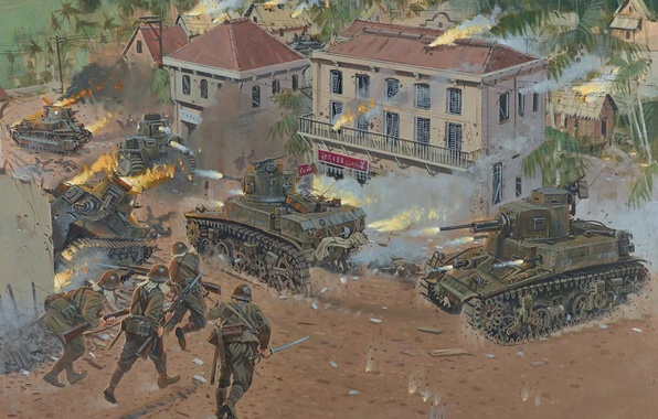 Picture war, street, figure, battle, drop, art, soldiers, tanks, Japanese, the city, WW2, American, burning, Philippines, …