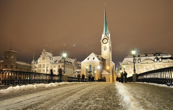 Picture winter, snow, bridge, lights, people, tower, home, the evening, Switzerland, Zurich