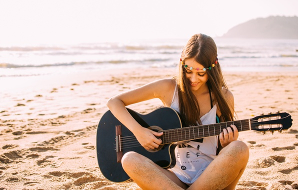 Picture beach, girl, smile, guitar