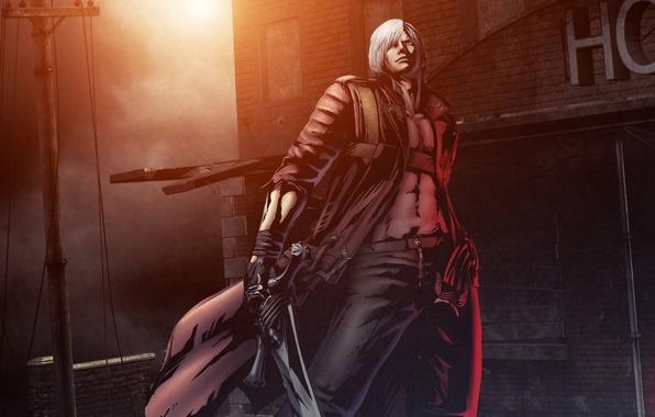Picture weapons, guns, sword, guns, sword, Dante, DMC, Dante, game wallpapers, Devil May Cry, Rebellion, poludemon, …