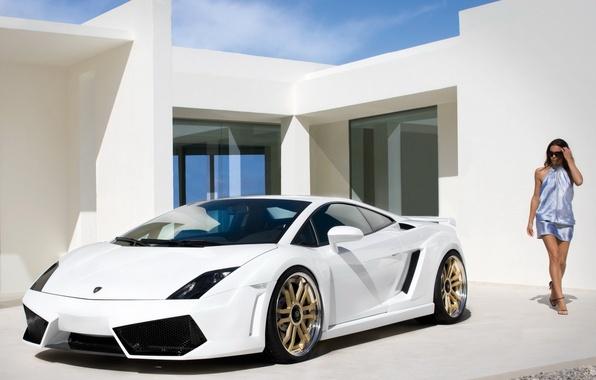 Picture girl, Lamborghini, white, sportcar