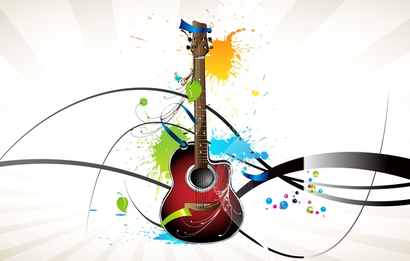 Picture collage, guitar, vector, tool