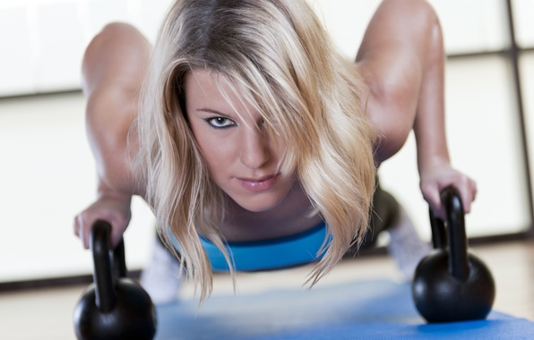 Picture exercise, look, blonde, kettlebell