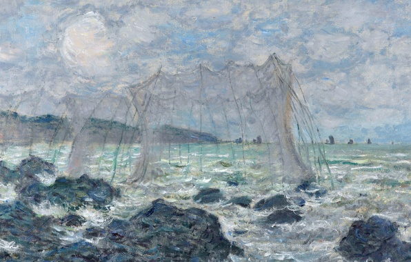 Photo wallpaper picture, seascape, Claude Monet, Fishing nets in Purvile