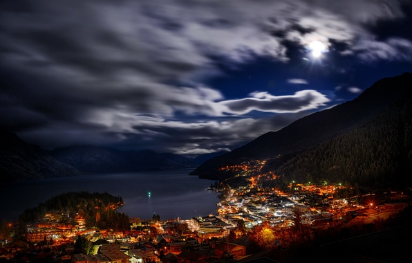 Picture forest, clouds, trees, landscape, night, lights, lake, home, Bay, New Zealand, town, New Zealand, Queenstown, …