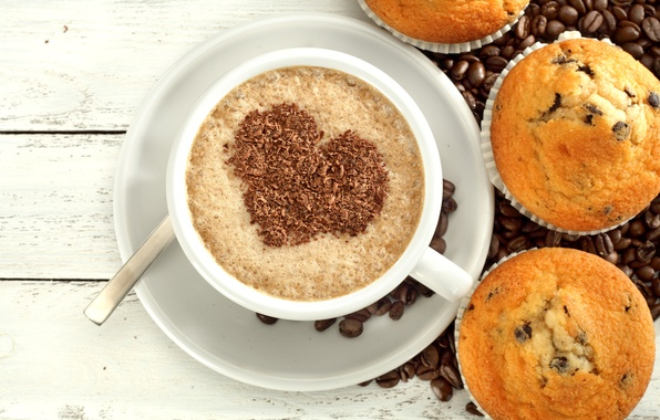 Picture love, heart, coffee, chocolate, love, heart, cup, cupcake, cupcakes, beans, coffee