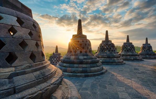 Picture the sun, rays, light, island, the evening, Indonesia, Java, Borobudur, stupa, the temple complex