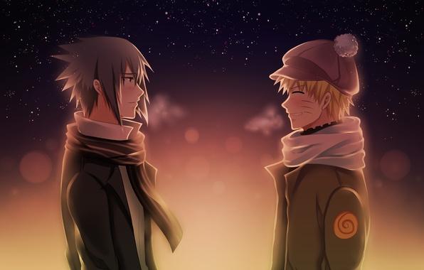 Picture the evening, friends, naruto, anime, art, Uchiha Sasuke, shinobi, Uzumaki Naruto, cold weather, a chance …