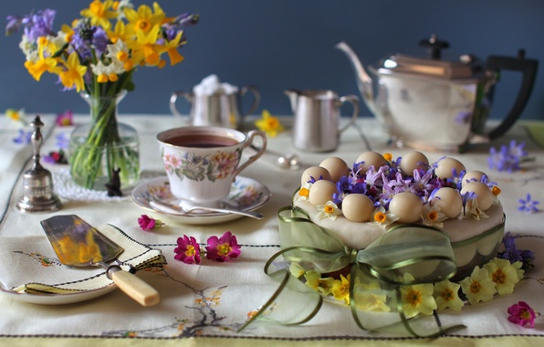 Picture flowers, tea, bouquet, cake, bow, Narcissus, hyacinth, Primula