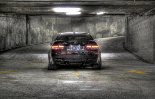 Picture black, shadow, BMW, BMW, Parking, black, back, e92