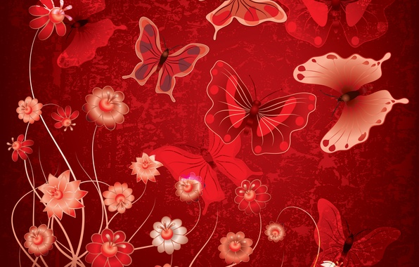 Picture butterfly, flowers, abstract, red, design, flowers, grunge, butterflies