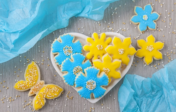 Picture flowers, butterfly, heart, cookies, plate, sugar, heart, blue, flowers, cakes, sweet, sweet, glaze, beads, cookies