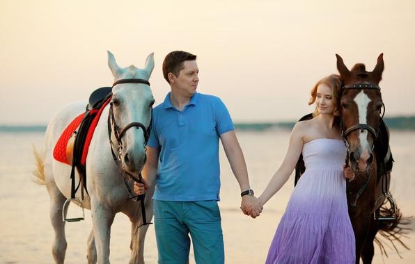 Picture sea, girl, coast, horse, girl, guy, sea, coast, boy, horse