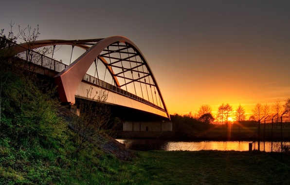 Photo wallpaper the sun, bridge, river