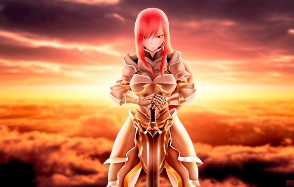 Picture girl, sword, armor, anime, art, fairy tail, ezra scarlet