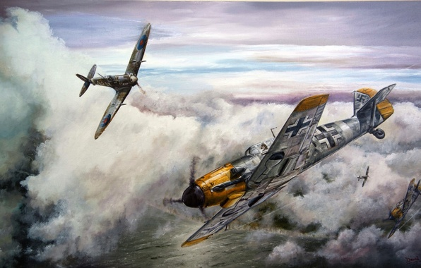 Picture aircraft, war, spitfire, airplane, aviation, dogfight, me 109, bf 109