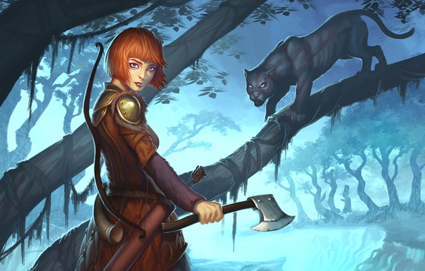 Picture cat, girl, weapons, tree, Panther, art, Guild Wars 2, Ranger