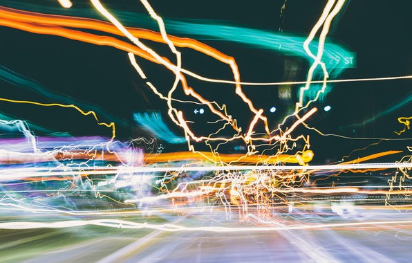 Picture light, the city, lights, glare, movement