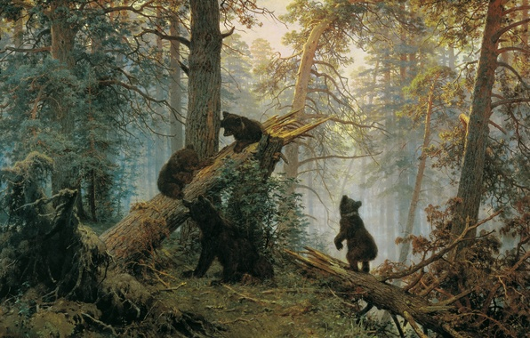 Picture forest, bears, Ivan Ivanovich Shishkin, Morning in a pine forest
