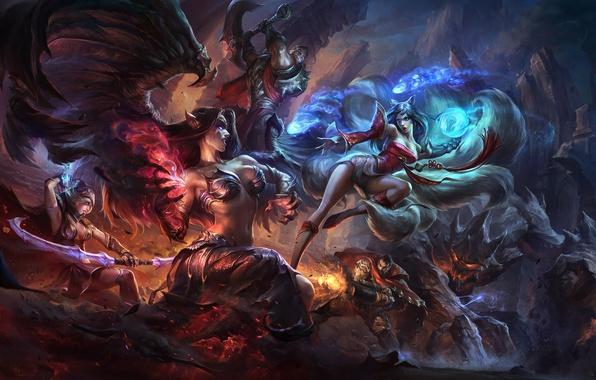 Picture girls, magic, wings, art, battle, League of Legends, Ahri, Morgana