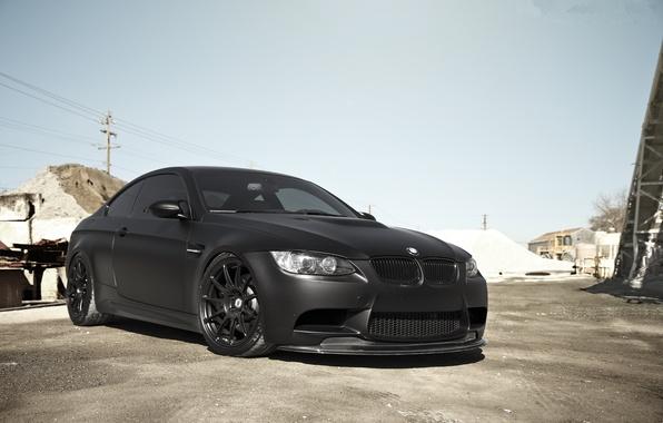 Picture bmw, BMW, front view, e92, matte black, tinted, matte black