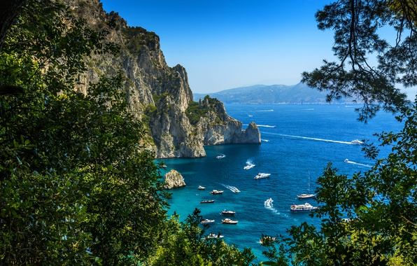 Picture Nature, Yacht, Rock, Italy, Coast, Capri, Sailing