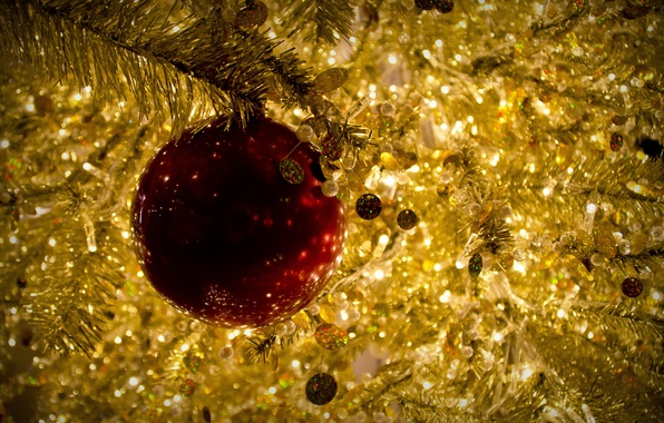 Picture red, toy, ball, Christmas, gold, tinsel, Christmas, New Year, Christmas