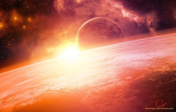 Picture space, dawn, stars, Planet, QAuZ
