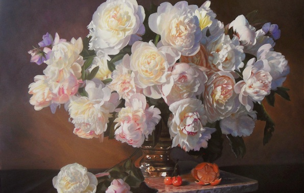 Picture flowers, orange, bouquet, picture, vase, fruit, still life, cherry, peonies, Zbigniew Kopania