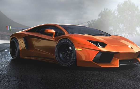 Picture Lamborghini, Orange, Sun, Tuning, LP700-4, Aventador, Supercar, Wheels, Track, Spoiler, DRAG, Italiano