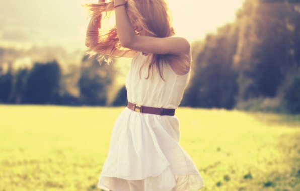 Picture greens, grass, girl, the sun, trees, joy, happiness, nature, background, Wallpaper, mood, positive, blonde, belt, …