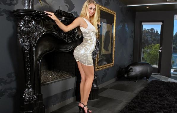Picture ass, room, interior, figure, blonde, bending, studs, fireplace, legs, legs, waist, figure, room, interior, blonde, …