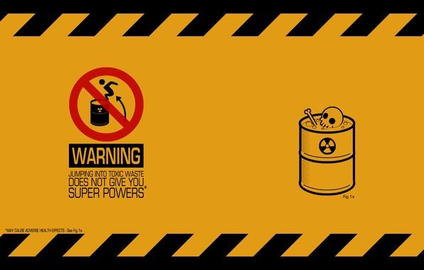 Photo wallpaper warning, minimalism, waste, barrel, toxic