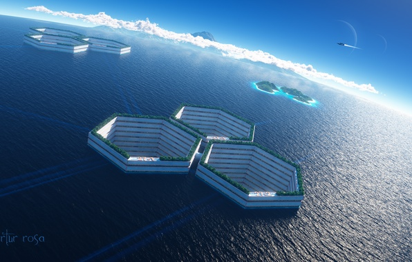 Picture sea, water, ship, cell, art, facilities, colony, cell
