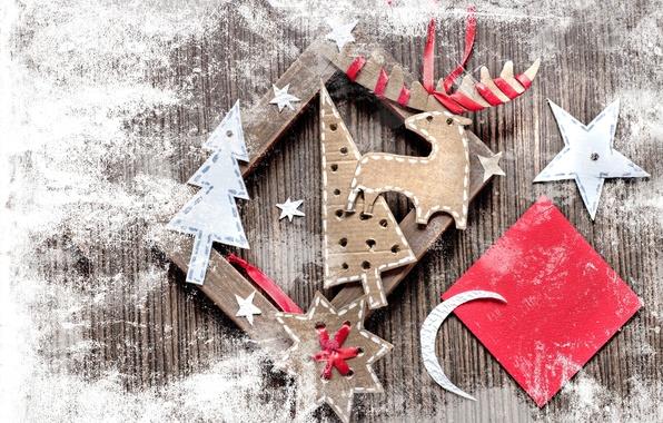 Picture paper, star, tree, a month, frame, deer, Christmas, cardboard, vintage, figures, vintage, snowflake, ribbons, DIY