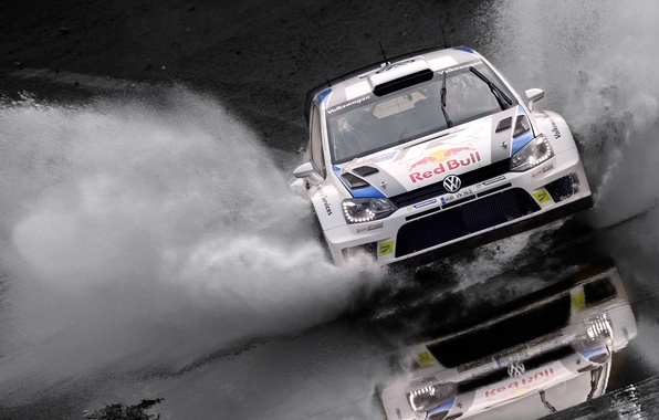 Picture Water, Auto, White, Sport, Volkswagen, Machine, Squirt, Lights, Red Bull, WRC, Rally, Rally, The front, …