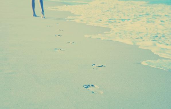 Picture sand, sea, beach, summer, water, girl, the sun, light, joy, traces, heat, mood, stay, feet, …