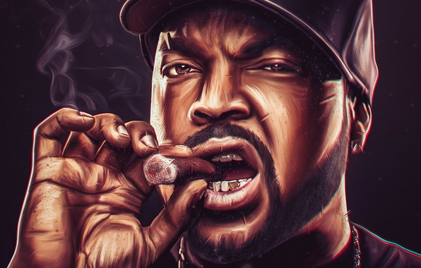 Photo Wallpaper Chain Ice Cube Rapper Male Cigar