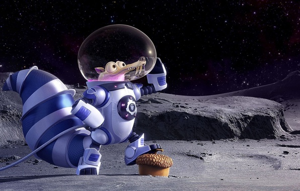 Picture cinema, Ice Age, moon, stars, cartoon, movie, animal, planet, nuts, film, pose, squirrel, galaxies, cosmonaut, …