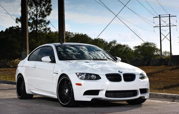 Picture white, bmw, BMW, white, wheels, drives, e92, power line