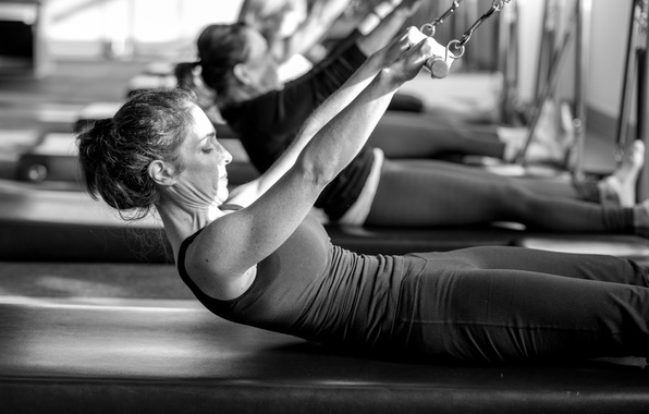 Picture black and white, workout, class, pilates