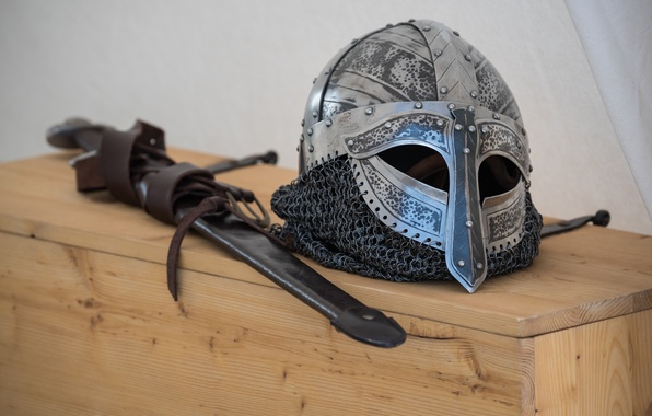 Photo wallpaper sword, Vikings, helmet