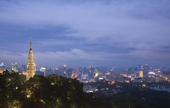 Picture the city, lights, China, building, home, the evening, lighting, backlight, panorama, China, China, Hangzhou, Hangzhou